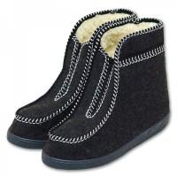 Valašské boty s ovčí vlnou - důchodky - tmavé