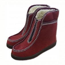 Valašské boty s ovčí vlnou důchodky - vínové