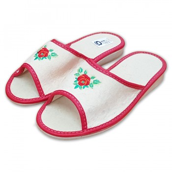 Pantofle filcové otevřené, růže