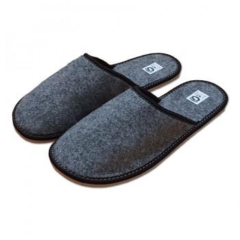 Pantofle filcové uzavřené pánské, černý lem