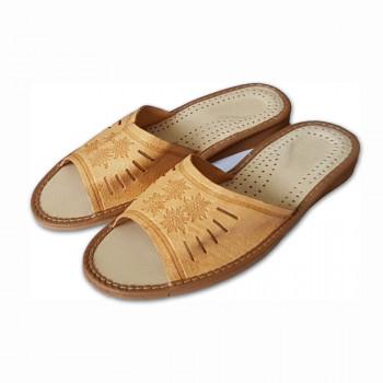 Dámské pantofle z přírodní kůže P-10