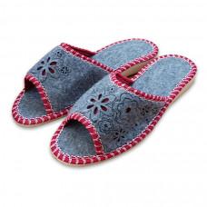 Pantofle filcové dámské otevřené