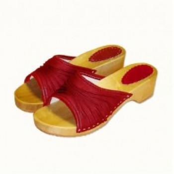 Dámské dřeváky elegance červené
