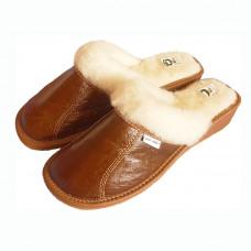 Pantofle na klínku s ovčí vlnou HNĚDÉ