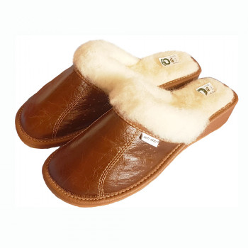 Pantofle na klínku s ovčí vlnou