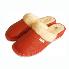 Pantofle na klínku s ovčí vlnou ČERVENÉ