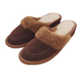 Pantofle na klínku s ovčí vlnou HNĚDÉ - semišové
