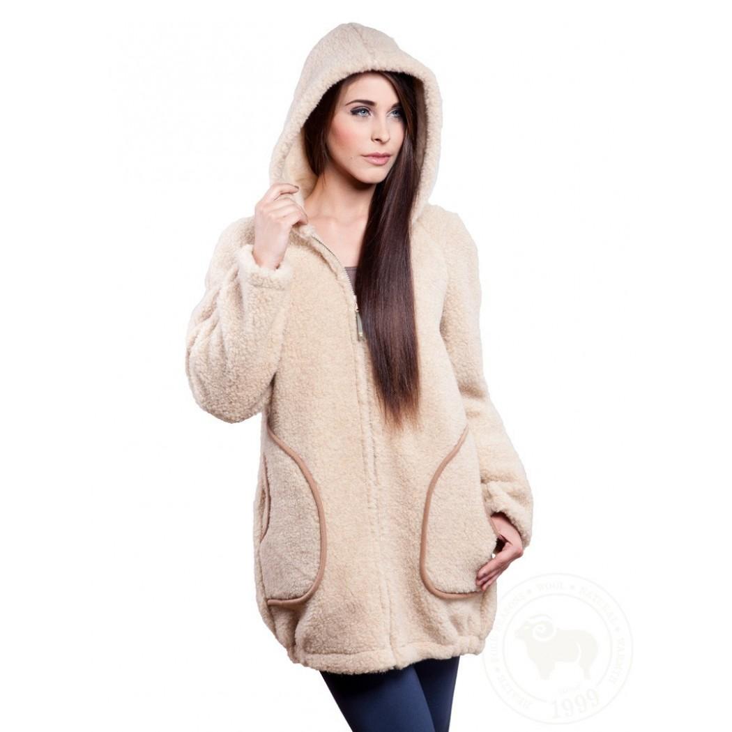 fc7d77834f7 Kabát s kapucí z ovčí vlny DOTI ...