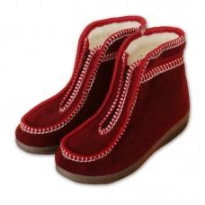 Valašské boty s ovčí vlnou - důchodky - vínové