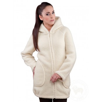 Kabát s kapucí z ovčí vlny DOTI