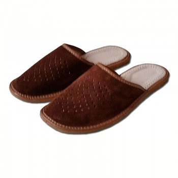 Pánské pantofle, uzavřená špice semiš