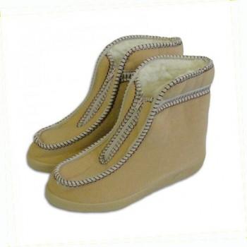 Valašské boty s ovčí vlnou - důchodky - světlé