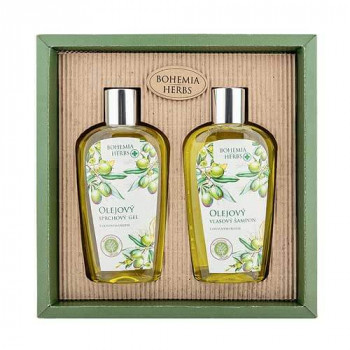 Kosmetická sada – gel 250 ml a šampon 250 ml – oliva