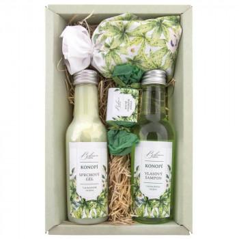 BOHEMIA Sada konopí premium – gel 200 ml, šampon 200 ml, mýdlo 30 g a sůl 150 g