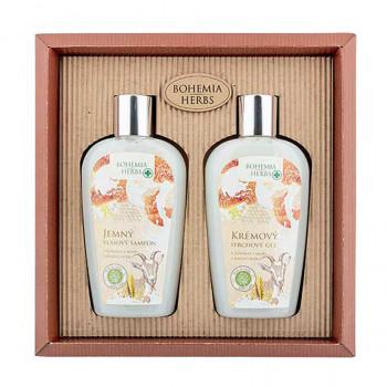 BOHEMIA Dárková sada Med a Kozí mléko sprchový gel 250 ml + šampon na vlasy 250 ml