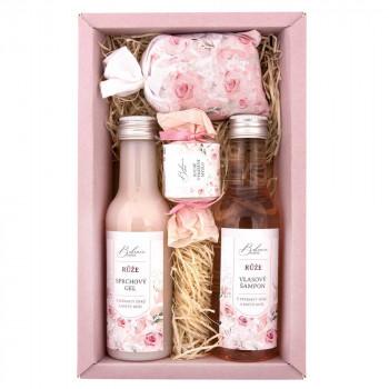 BOHEMIA Sada kosmetiky růže premium – gel 200 ml, šampon 200 ml, mýdlo 30 g a sůl 150 g