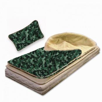 Spací pytel z ovčí vlny - oboustranná deka maskáč