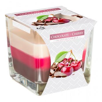 Tříbarevná vonná svíčka ve skle - Chocolate Cherry