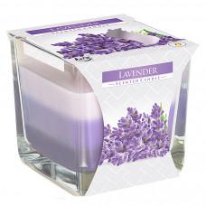 Tříbarevná vonná svíčka ve skle - Lavender