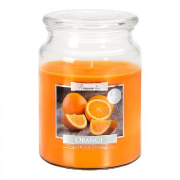 Vonná svíčka ve skle s víkem pomeranč