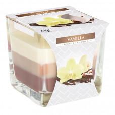Tříbarevná vonná svíčka ve skle - Vanilla