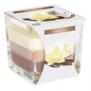 Tříbarevná vonná svíčka ve skle - vanilka