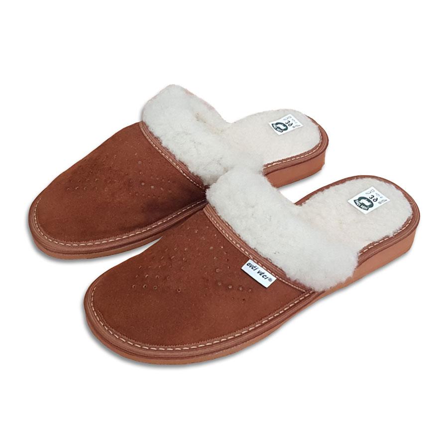 Dámské kožené pantofle s ovčí vlnou 36