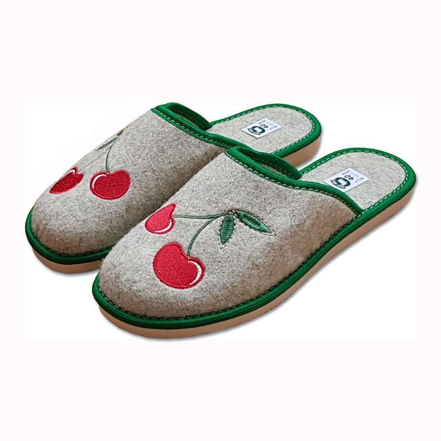 Dámské filcové pantofle s uzavřenou špicí - TŘEŠNĚ
