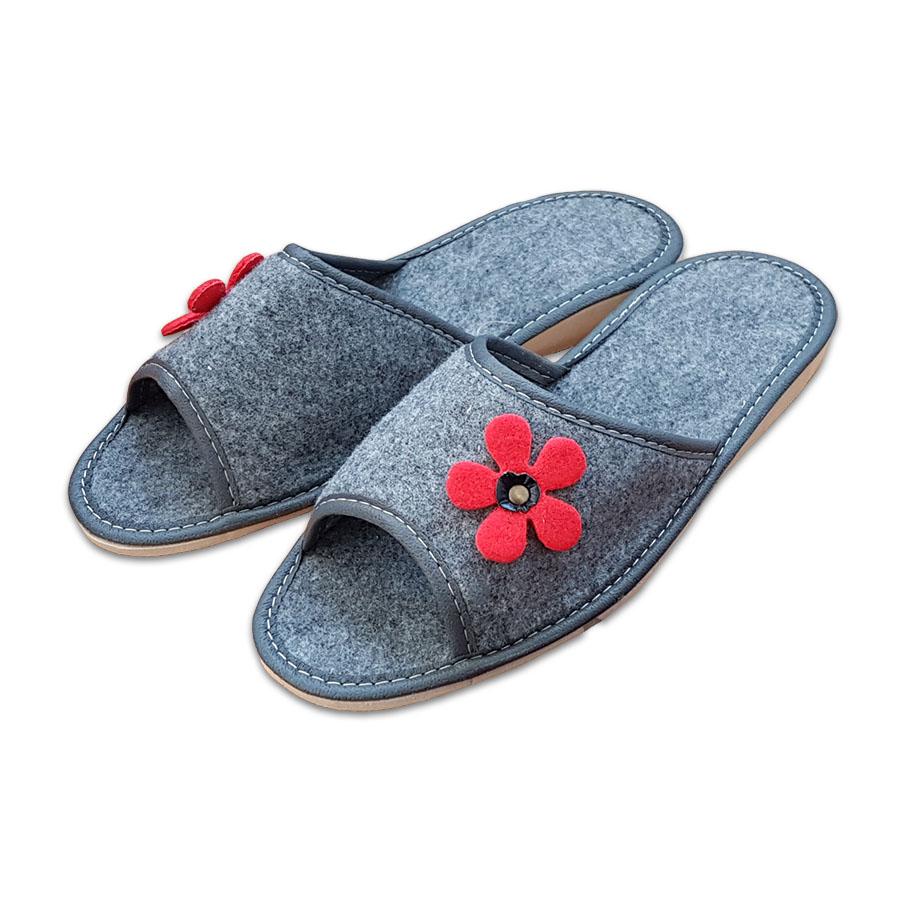 Dámské filcové pantofle otevřené - kytka