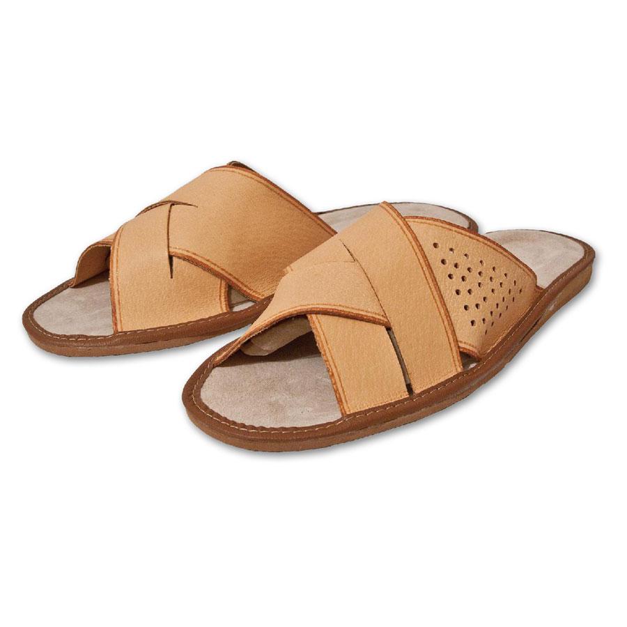 Pánské kožené pantofle přírodní