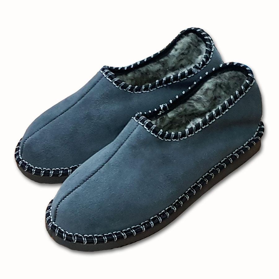 Dámské uzavřené pantofle s ovčí vlnou  ŠEDÉ 40