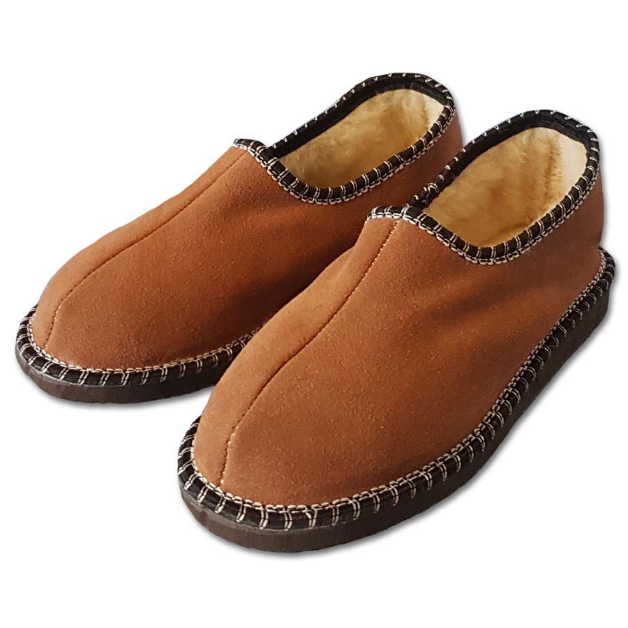 Dámské uzavřené pantofle s ovčí vlnou  HNĚDÉ 38
