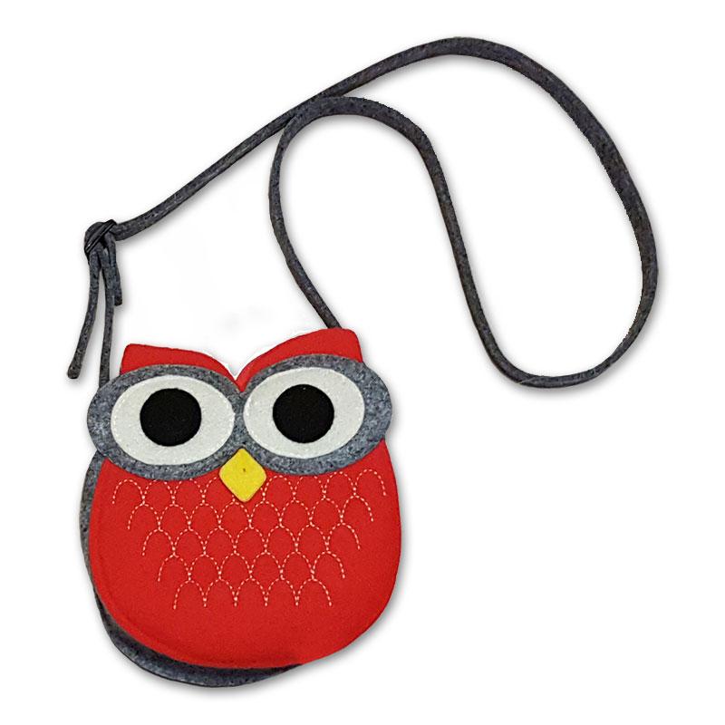 Filcová kabelka sova - červená