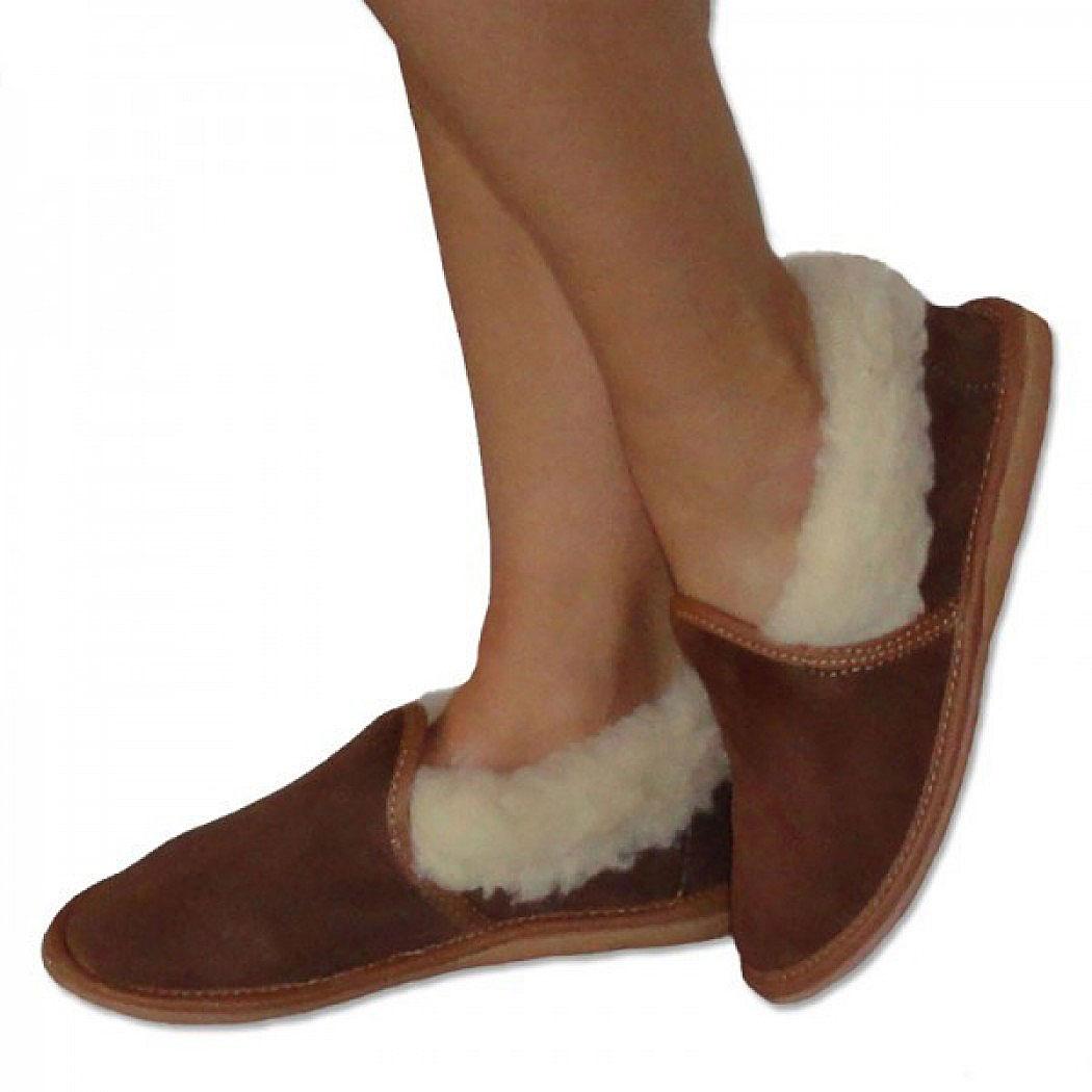 Pantofle uzavřené s ovčí vlnou