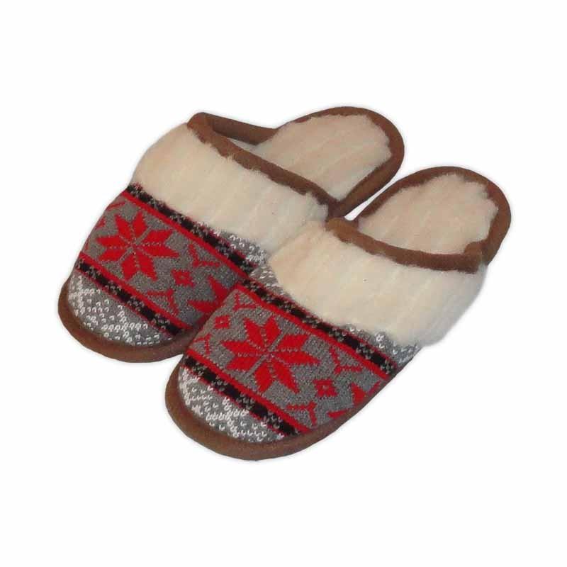 Vlněné pantofle s norským červeným vzorem - s červeným vzorem 39