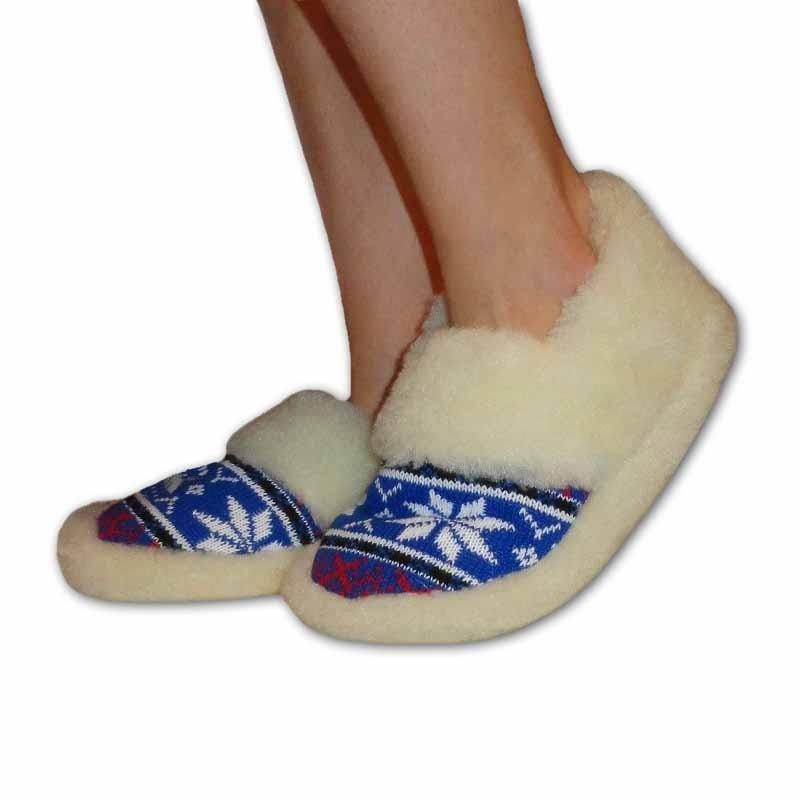 Vlněné pantofle s patou -