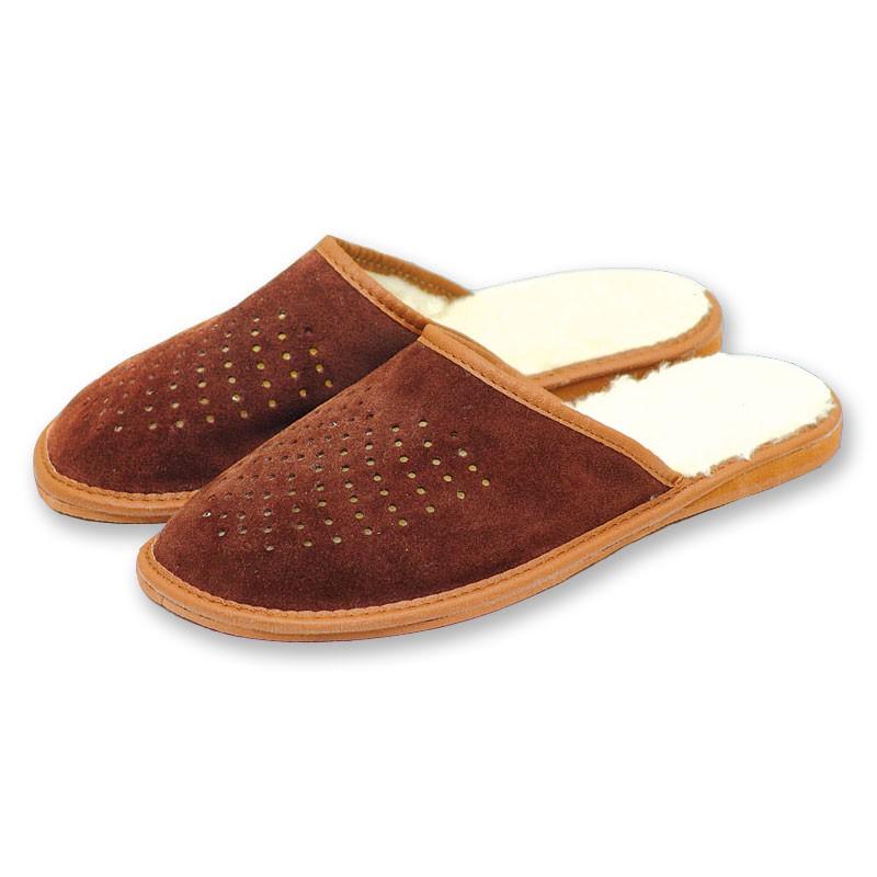 Pánské kožené pantofle s ovčí vlnou 44