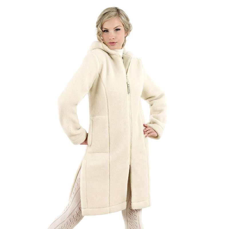 Vlněný kabát s kapucí LINEA přírodní XL
