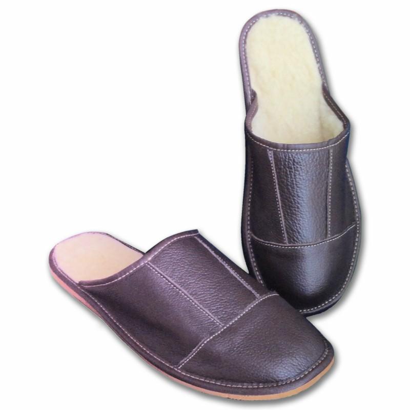Pánské kožené pantofle s ovčí vlnou - LUX