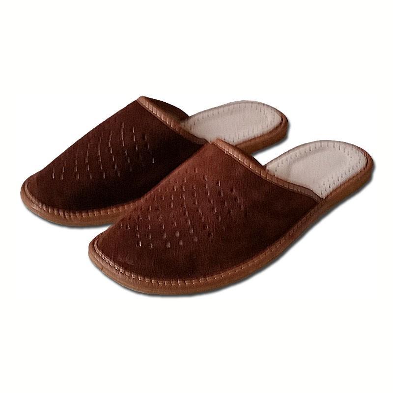Pánské kožené pantofle - semiš