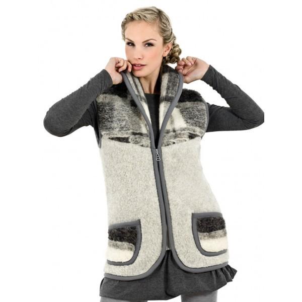 Vlněná vesta šálová z ovčí vlny - 1128-13-1 2XL